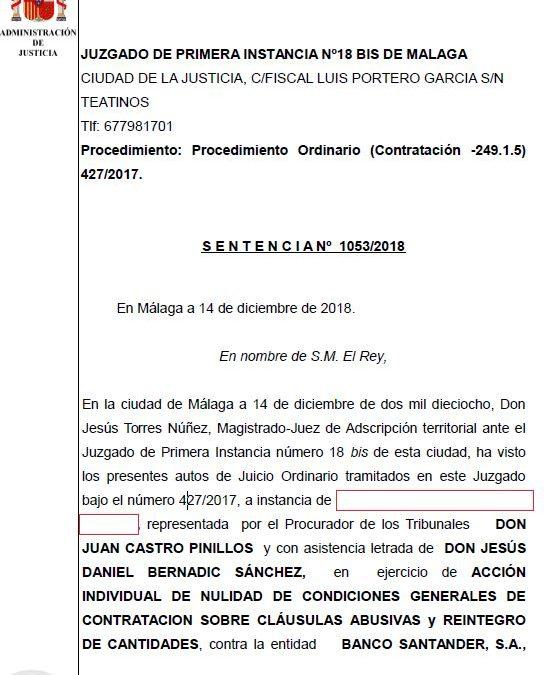 GANAMOS AL SANTANDER POR IRPH EN MÁLAGA